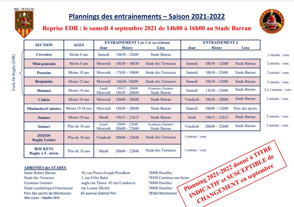 PlanningEntrainements